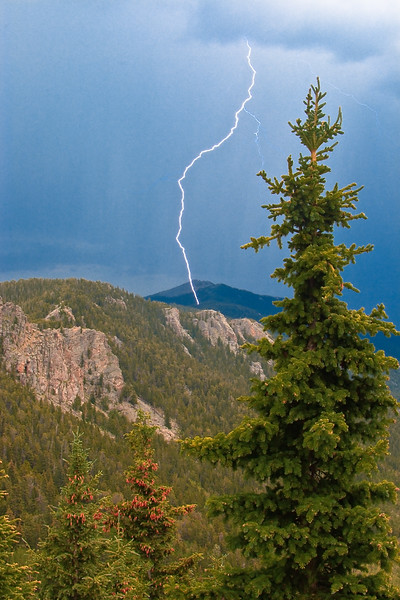 Lightning on Squaw Pass near Mount Evans.