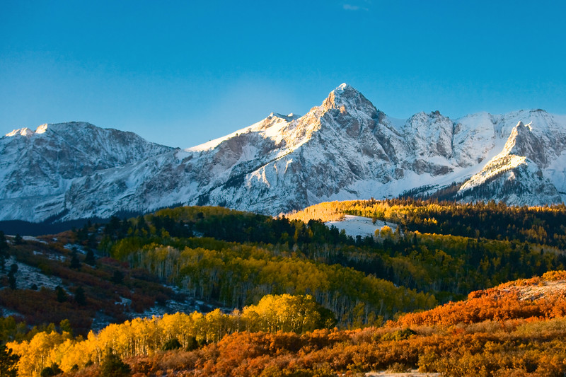 Mount Sneffels autumn sunrise from Dallas Divide.