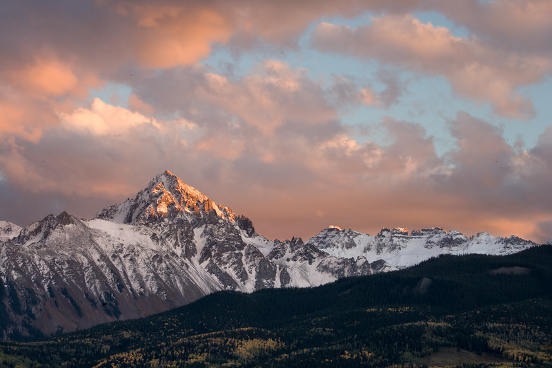 Mount Sneffels sunset from Dallas Divide outside Ridgway, Colorado.