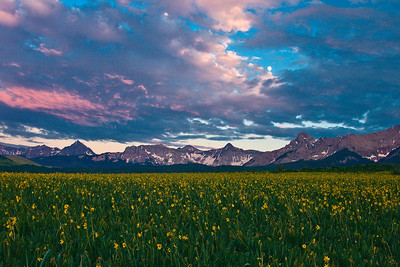 Sunset, flowers and moon from Last Dollar Road between Ridgway and Telluride.