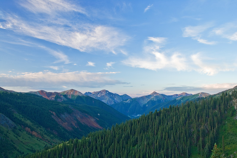 View toward Silverton from road into Proporhry Basin offr Red Mountain Pass.