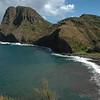 North shore of Maui on the road from Kapalua to Kahului. A narrow road winds along the coast.