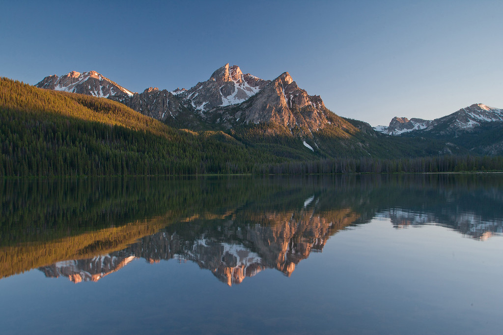 McGowen peaks reflected in Stanley Lake near Stanley Idaho.