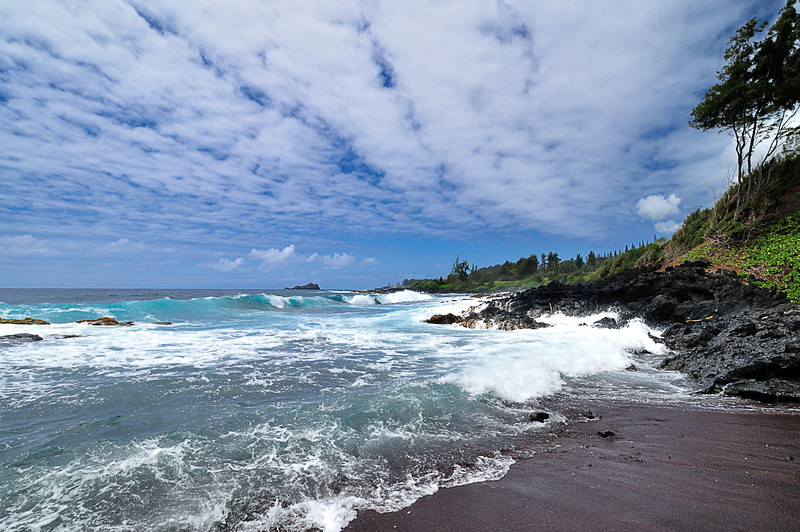 Black Sand Beach in Paradise