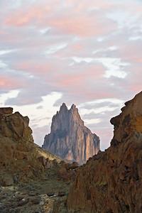 Sunrise at Shiprock volcanic stack near Farmington, NM
