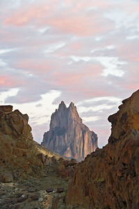 Sunrise at Shiprock volcanic stack near Farmington, New Mexico