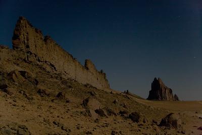 Moonlight illuminates Shiprock volcanic stack near Farmington, NM