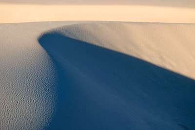 Gracefully curving sand and patterns at White Sands National Monument, near Alamogordo, New Mexico.