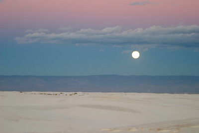 Moonset over White Sands National Monument, near Alamogordo, New Mexico.
