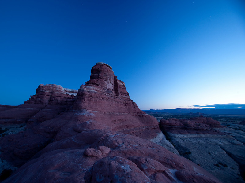 Pre-dawn light on red rock.