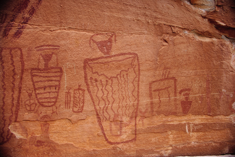 Fremont rock art panel with shield figures.