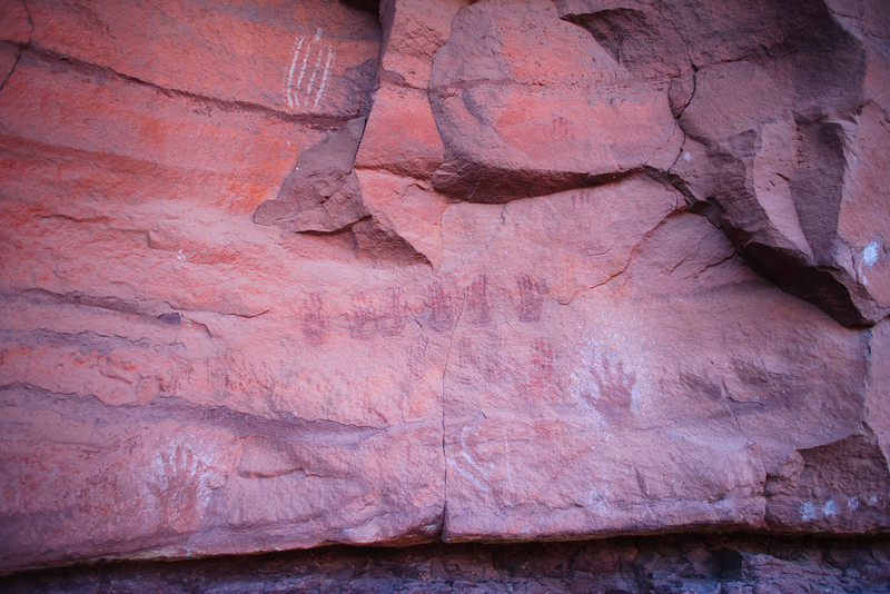 Hand print rock art.