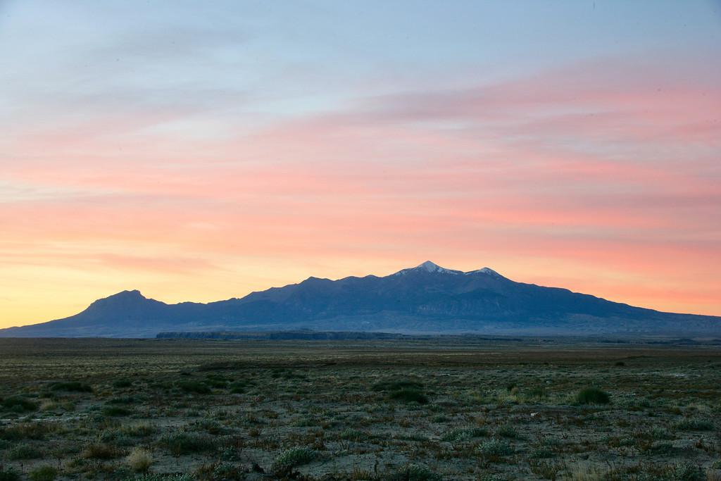 Sunrise above the Henry Mountains near Hanksville, Utah.