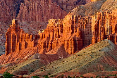 Chimney Rock glows at sunset in Capitol Reef National Park.