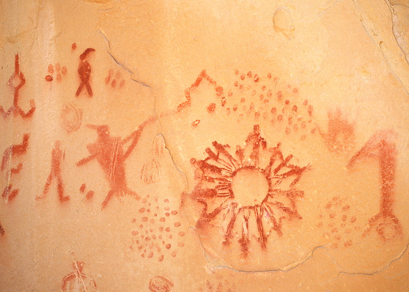 Rock art near Escalante. Unusual as it shows what looks like family interaction.