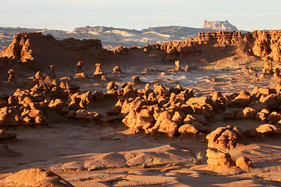 Towering hoodos at sunset in Goblin Valley State Park near Hanksvillle and Green River, Utah.