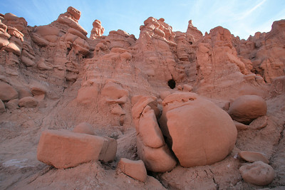 Humpty Dumpty? Erosion and gravity work together to shape  towering hoodos at Goblin Valley State Park near Hanksvillle and Green River, Utah.