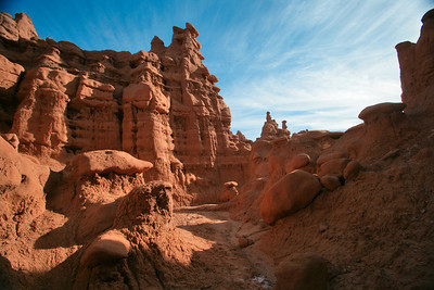 Myriad washes wind their way thru towering hoodos at Goblin Valley State Park near Hanksvillle and Green River, Utah.