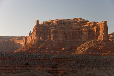 Towering monolith at sunset at Valley of the Gods near Bluff Utah