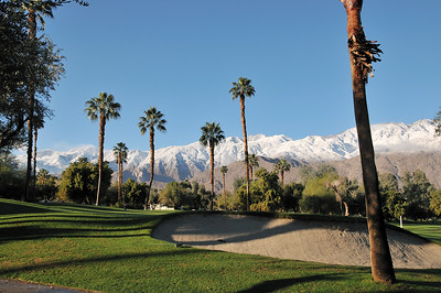 snow-capped mountain in Palm Springs,CA. If you're a golfer you can not ask any better view than this.This is the signature winter look of Palm Springs.Snow-capped mountains, bare desert mountains,palm trees and greens display a beautiful contrast of the desert landscape.