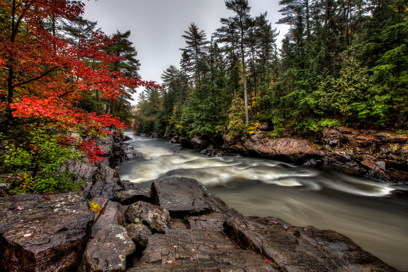 Early Autumn in Rawdon, Quebec near the Dorwin Falls on the Ouareau river.