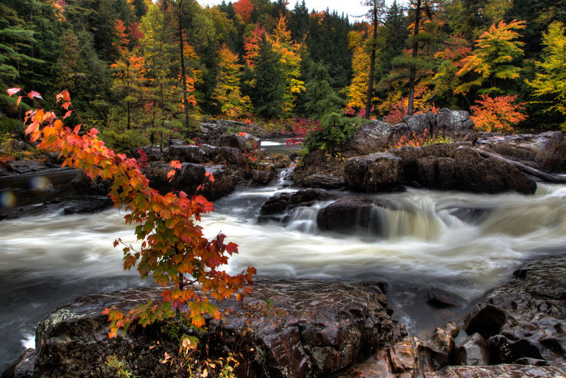Fall colours on the Ouareau river near Rawdon, Quebec