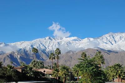 snow-capped mountain in Palm springs,CA. When you wake up in the morning and open your window,you're greeted with a breath-taking majestic desert landscape. A cup of coffee will be your good companion.