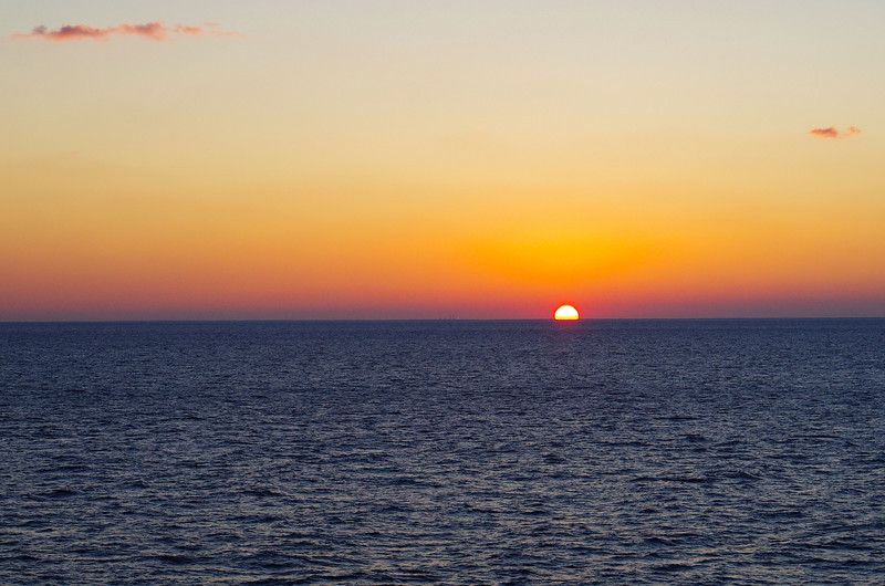 Carribean sunset off the bow of the Celebrity Century