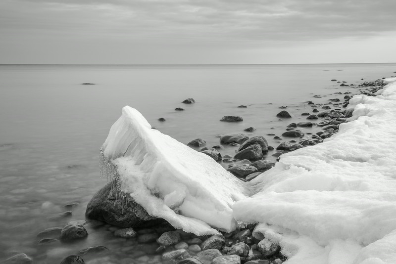 Leaning Late Winter Ice At The Lakeshore