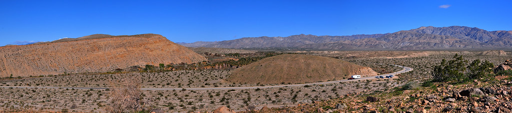This is my first pano shot and this is the view from Indio Hill,Thousand Palms,about a half hour drive east from Palm Springs. It's not a perfect image  but I thought it's descent for my first try.