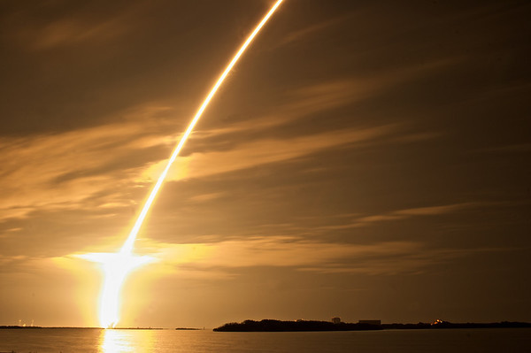 The launch of space shuttle mission STS-130 at 4:14 am, Monday February 8th, 2010. It was taken from the causeway, approximately 6.5 miles from the launch site. This was the 5th-to-last shuttle mission, and the last scheduled night launch.
