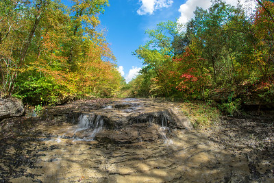 Fisheye view of the falls on Mooner's Hollow. The creek is actually named Coonville Creek.