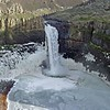 Palouse Falls encrusted with ice in early spring.