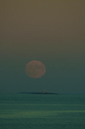 Blood Moon Rising over Halfway Rock Lighthouse