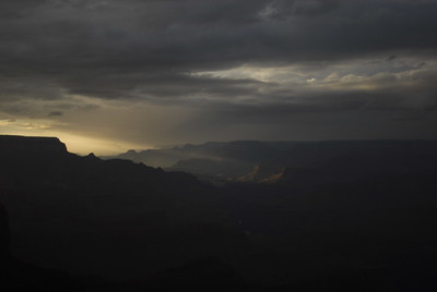 © Joseph Dougherty.  All rights reserved.   The Grand Canyon beneath stormy skies, last light of the day.