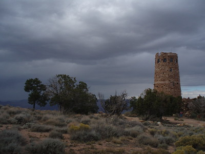 © Joseph Dougherty.  All rights reserved.   The Grand Canyon's famous south rim landmark, The Watchtower, beneath somber skies.