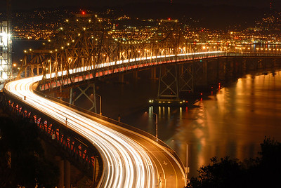 © Joseph Dougherty, All rights reserved.    The S-curve of the eastern span of the San Francisco Bay Bridge at midnight; San Francisco County, California.