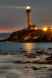© Joseph Dougherty. All rights reserved.  Pigeon Point Lighthouse at night, long exposure.