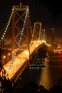 © Joseph Dougherty, All rights reserved.    San Francisco Bay Bridge at midnight; San Francisco County, California.