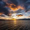 Skies at sunset