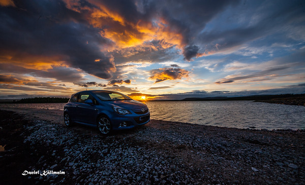 The Opel at sunset