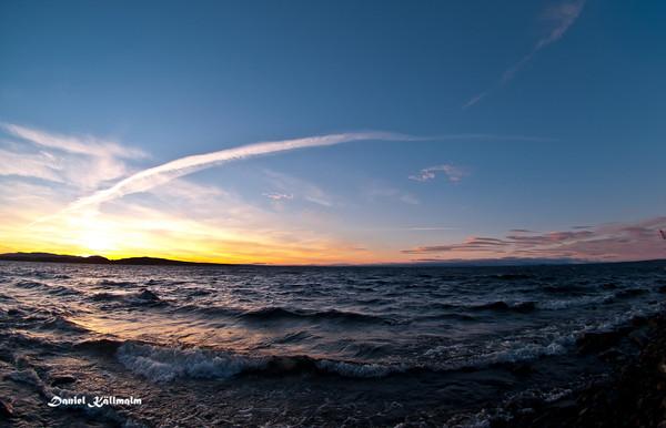Vapour trails at sunset