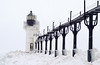 Blizzard over the Outer Lighthouse at St. Joseph North Pierhead