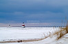 Winter at St. Joseph North Pier Lighthouse in St Joseph, Lake Michigan, Michigan, USA