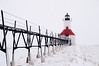 Elevated walkway leading to St. Joseph North Pierhead Lighthouse, St. Joseph, Benton Harbor, Michigan, USA