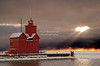 The Big Red - Lighthouse in Holland, Michigan after a winter storm
