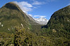 Snow covered mountain peaks near Milford Road, Fjordland, South Island, New Zealand