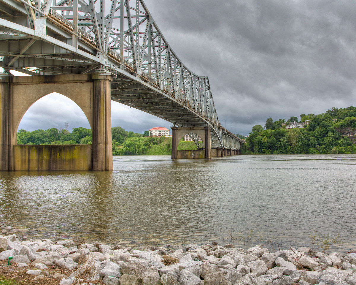 O'neal Bridge in Florence, Alabama at the end of heavy rains that brought the water levels up.