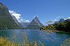 View into Milford Sound with Mitre Peak, South Island, New Zealand