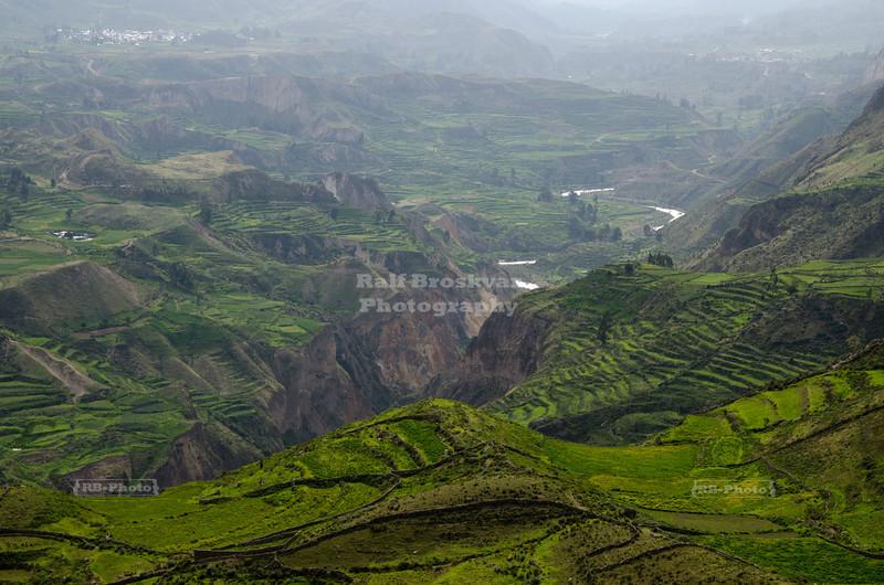 Aerial view over Colca valley with the Colca River. Colca Canyon, Peru